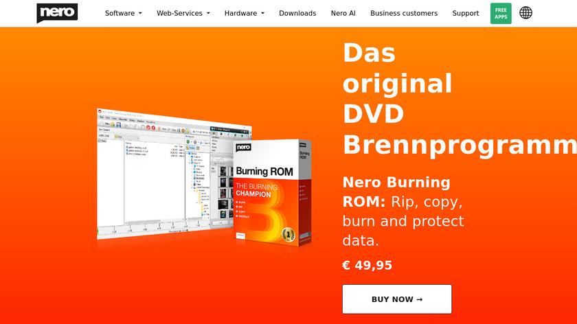 Nero Burning ROM Landing Page