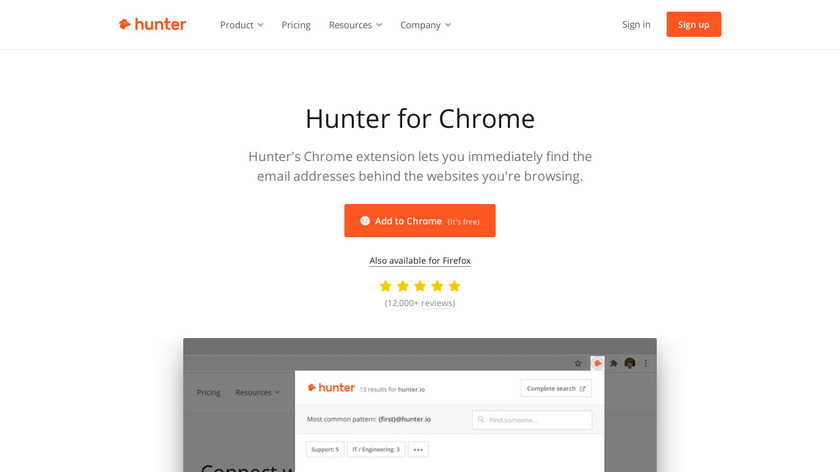 Email Hunter for Chrome Landing Page