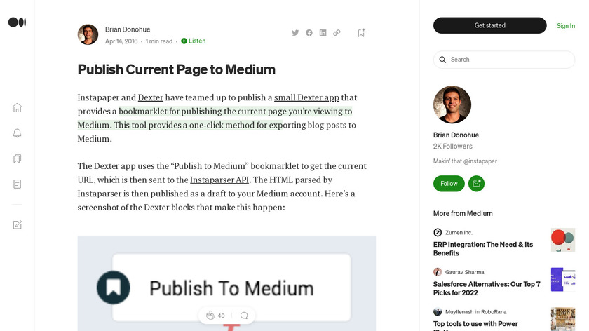Publish Current Page to Medium Landing Page
