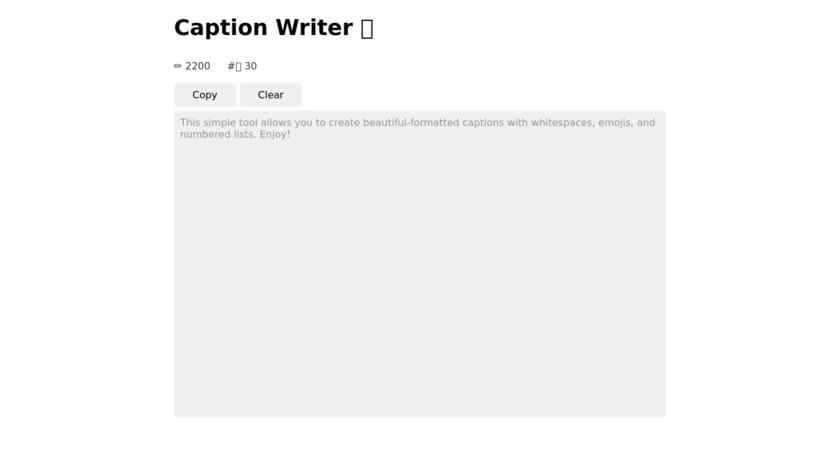 Instagram Caption Writer Landing Page