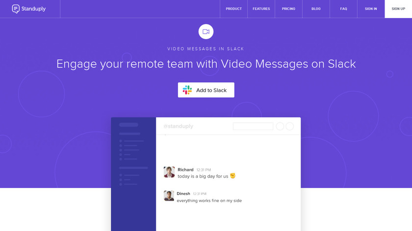 Slack Video Messaging by Standuply Landing Page
