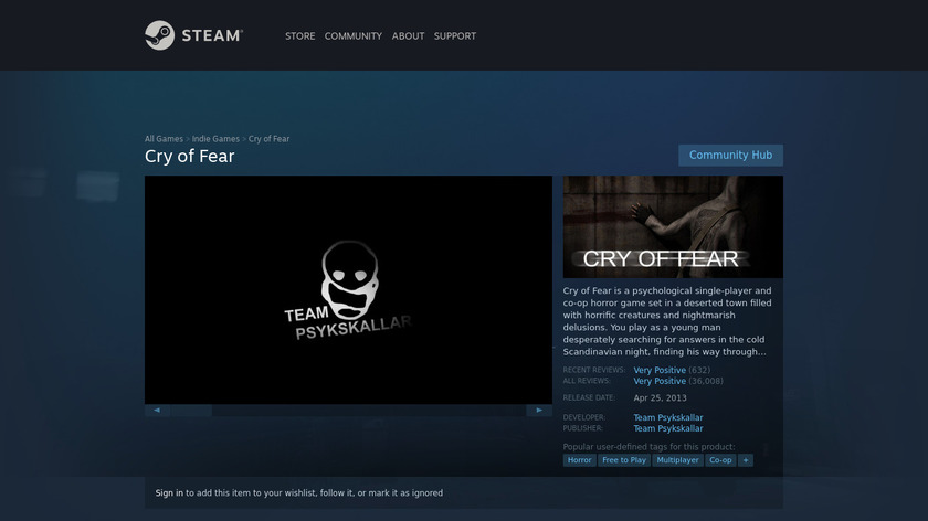 Cry of Fear Landing Page