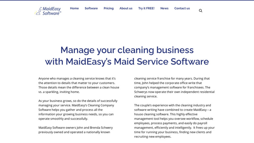 MaidEasy Software Landing Page