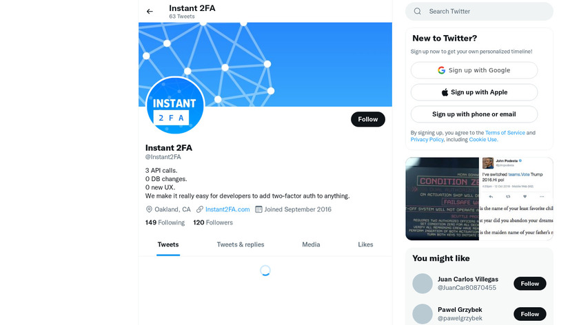 Instant 2FA Landing Page