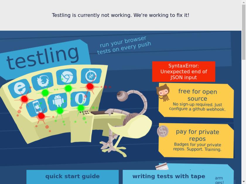 testling Landing Page