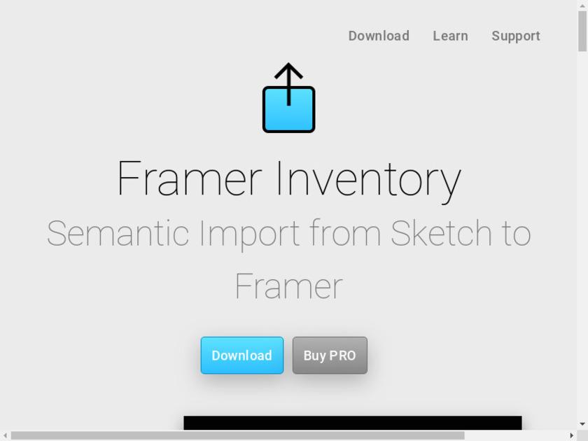 Framer Inventory 3 for Sketch Landing Page