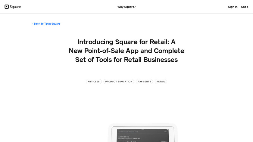 Square for Retail Landing Page