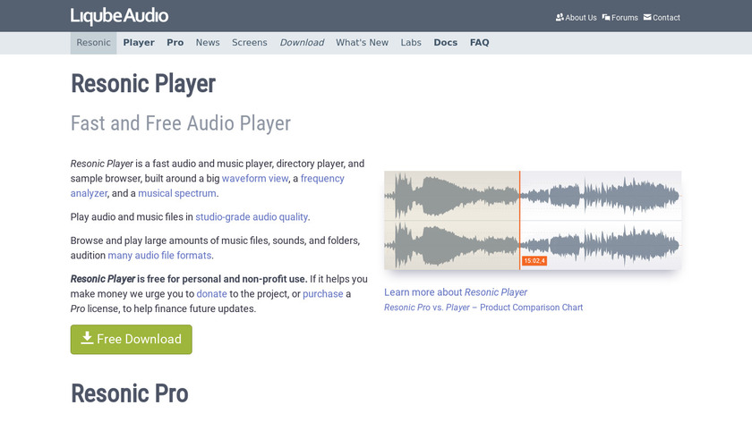 Resonic Player Landing Page