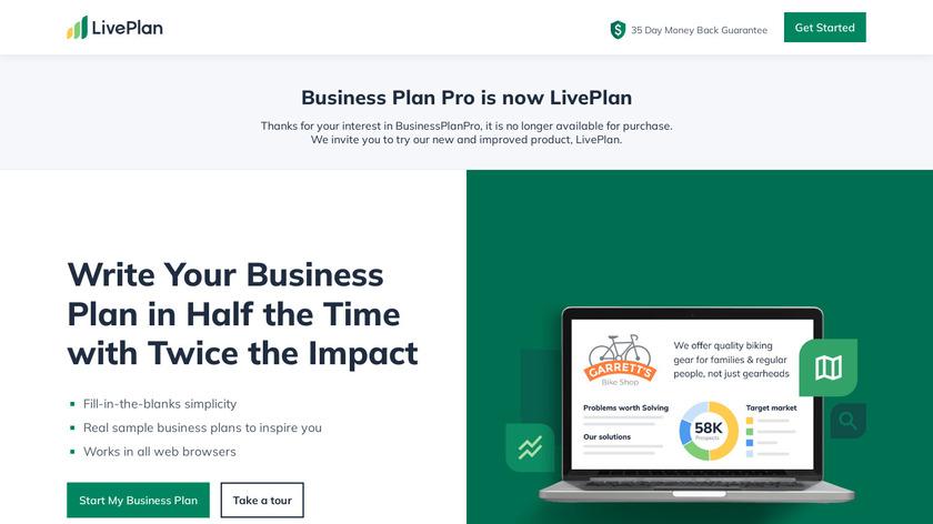 Business Plan Pro Premier Landing Page