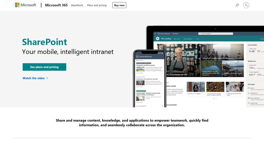 MS SharePoint Landing Page