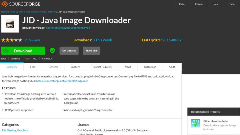 JID - Java Image Downloader Landing Page