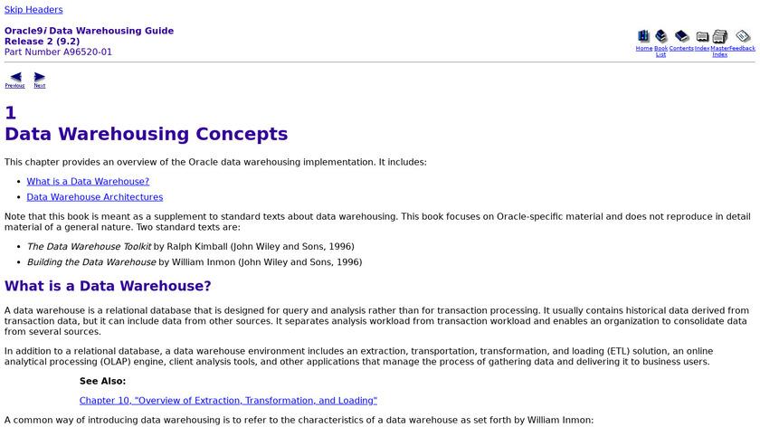 Oracle Data Warehouse Landing Page