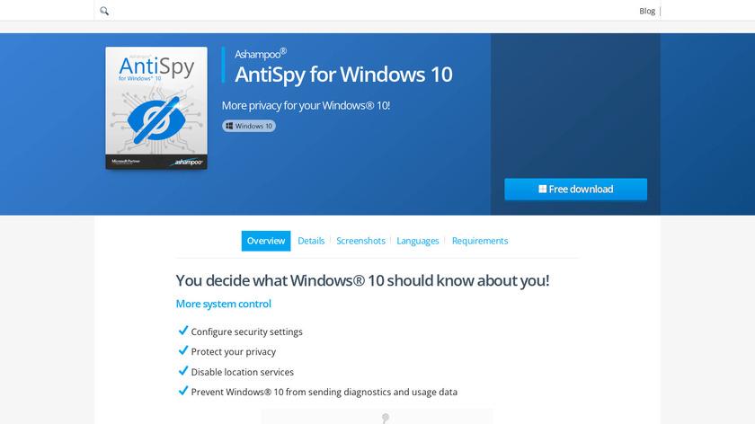 Ashampoo AntiSpy for Windows 10 Landing Page
