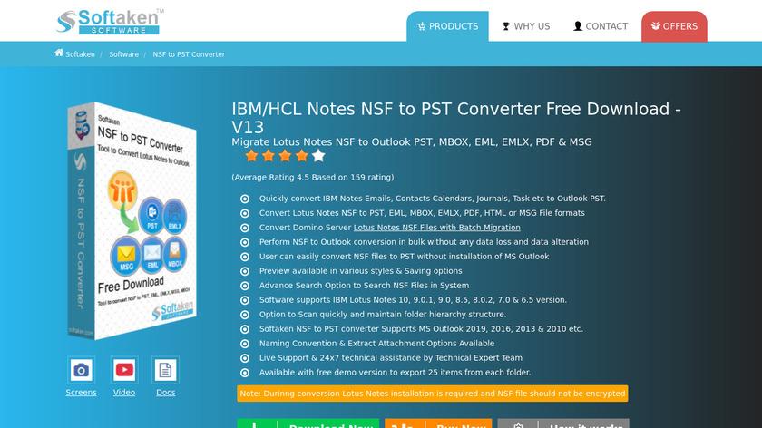 Softaken NSF to PST Converter Landing Page