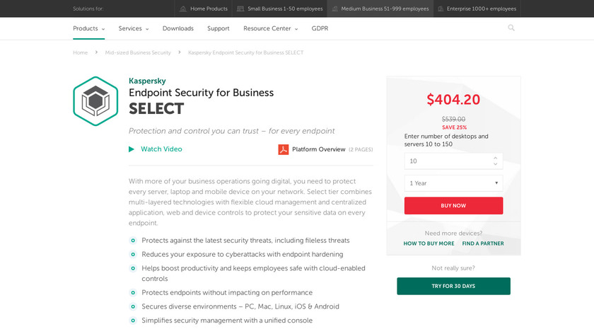 Kaspersky Endpoint Security Landing Page