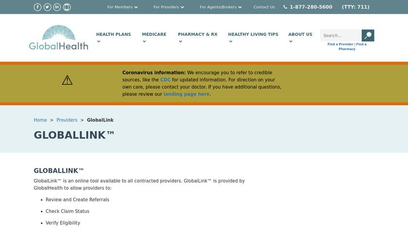 GlobalLink Landing Page