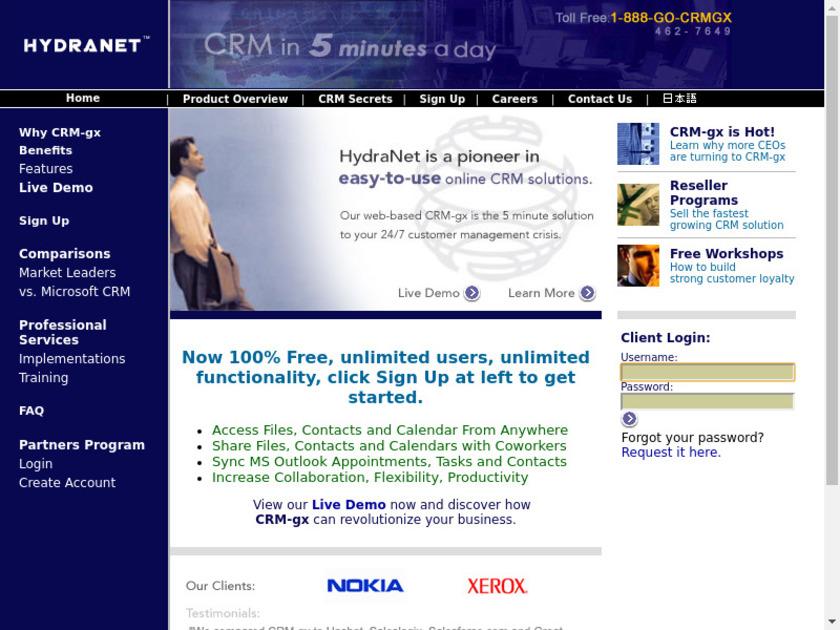 CRM-gx Landing Page