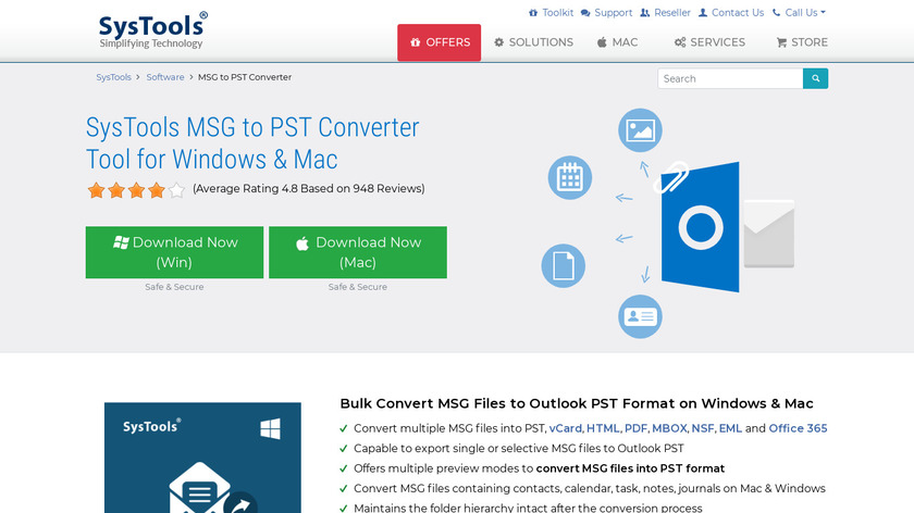 SysTools MSG to PST Converter Landing Page