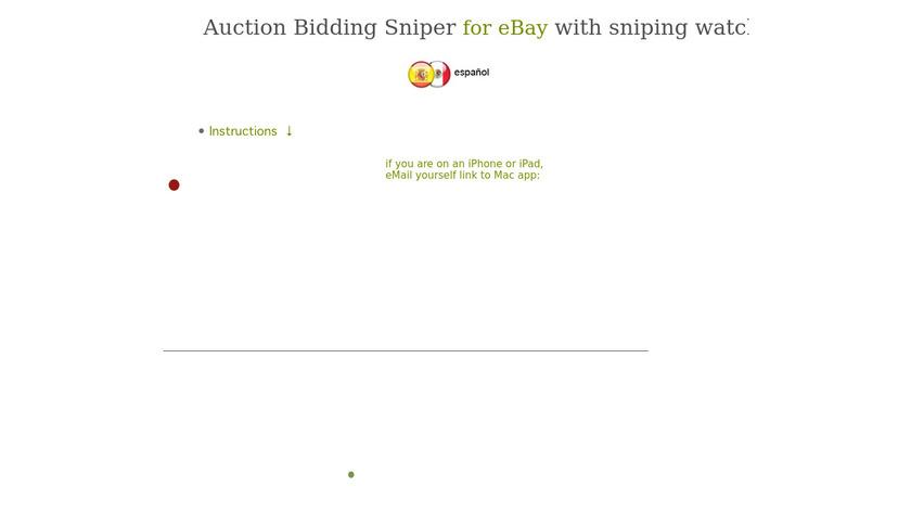 Auction Bidding Sniper for eBay Landing Page