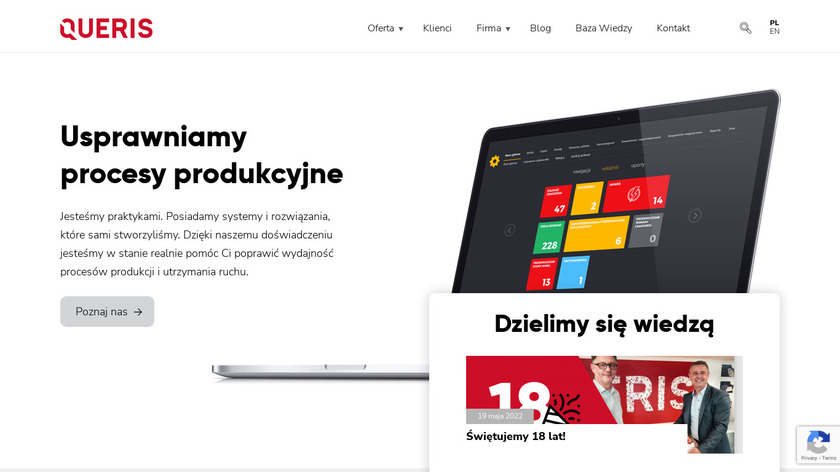 Queris CMMS Landing Page