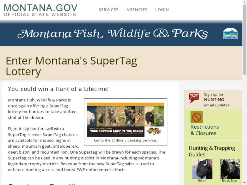 fwp.mt.gov SuperTag Landing Page