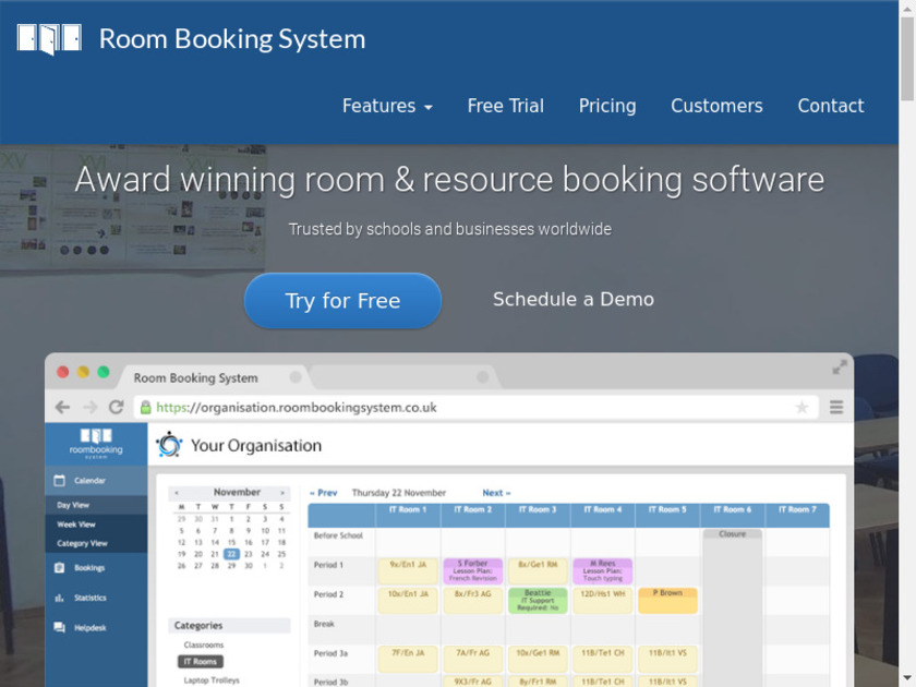 Room Booking System Landing Page