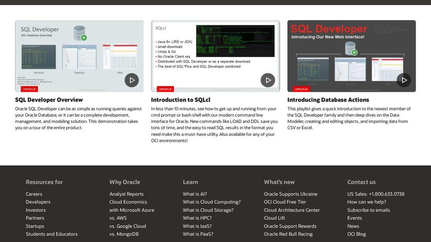 SQL Developer Landing Page
