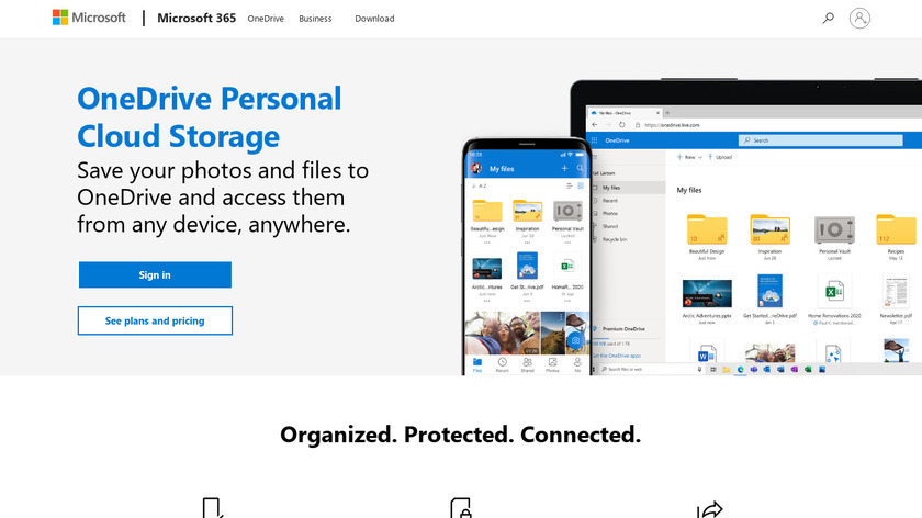 Microsoft OneDrive Landing Page