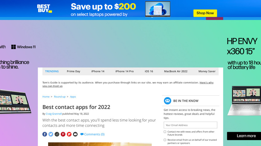 Contact Apps Landing Page