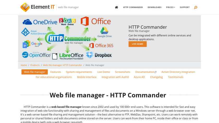 HTTP Commander Landing Page