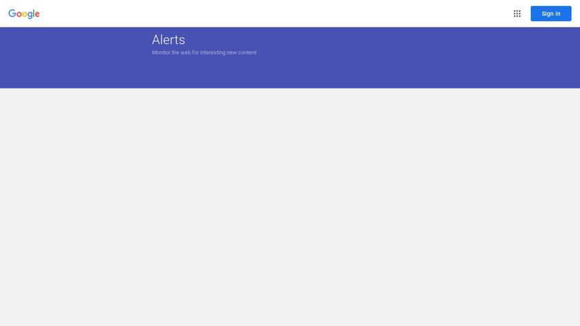 Google Alerts Landing Page