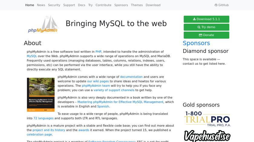 phpMyAdmin Landing Page