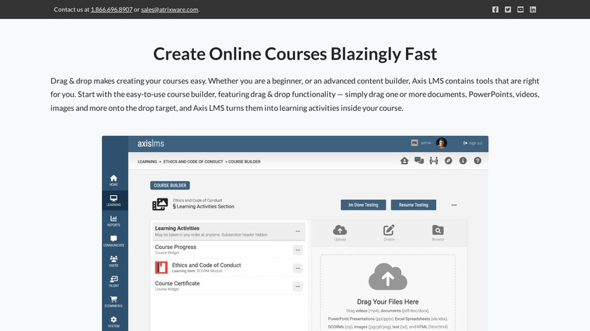 Axis LMS Landing Page