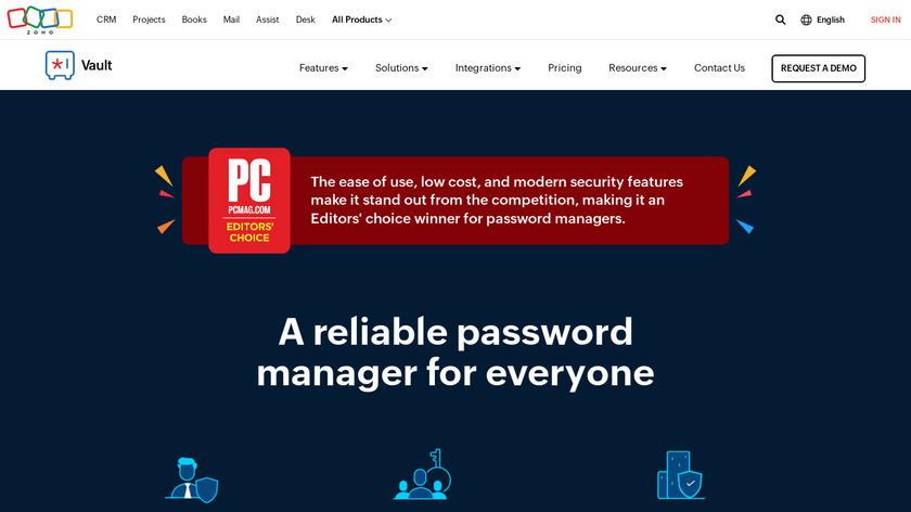 Zoho Vault Landing Page