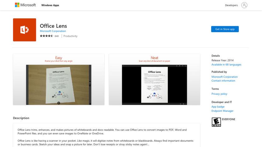 Microsoft Office Lens Landing Page