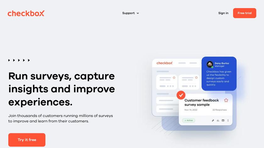 Checkbox Survey Landing Page