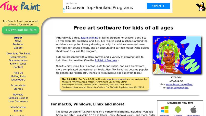 Tux Paint Landing Page