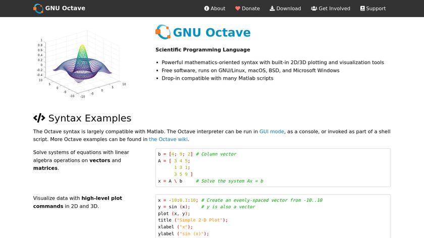 GNU Octave Landing Page