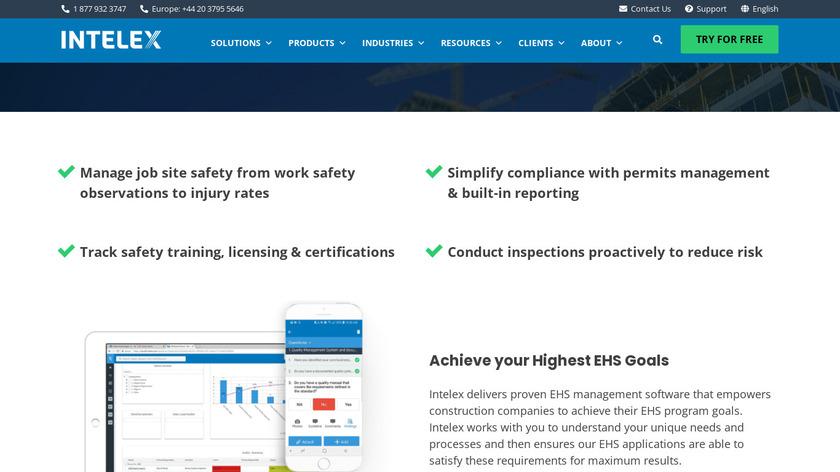 Intelex Landing Page