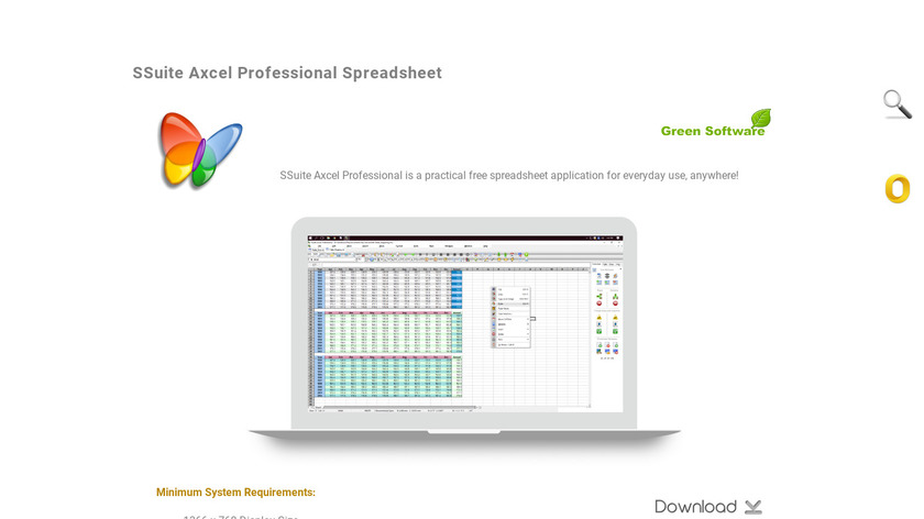 SSuite Axcel Professional Spreadsheet Landing Page