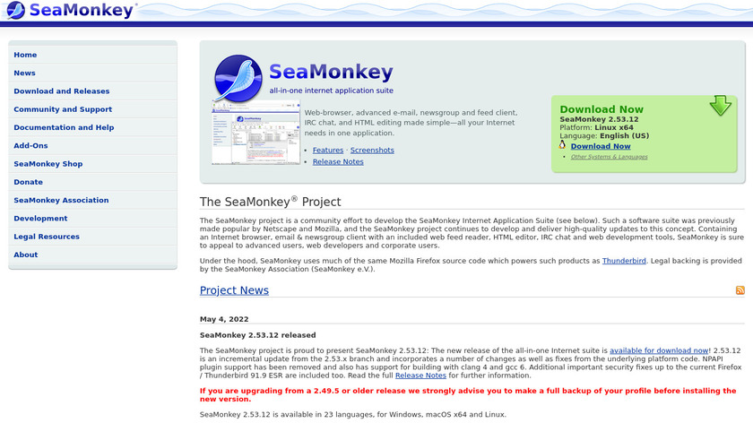 SeaMonkey Landing Page