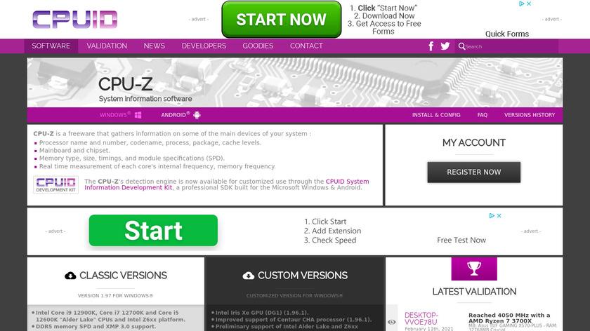 CPU-Z Landing Page