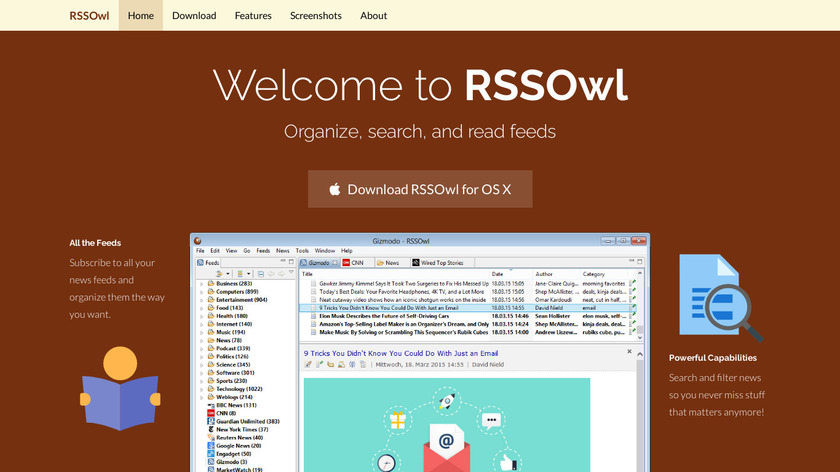 RSSOwl Landing Page