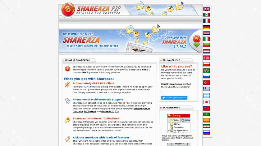 Shareaza Landing Page