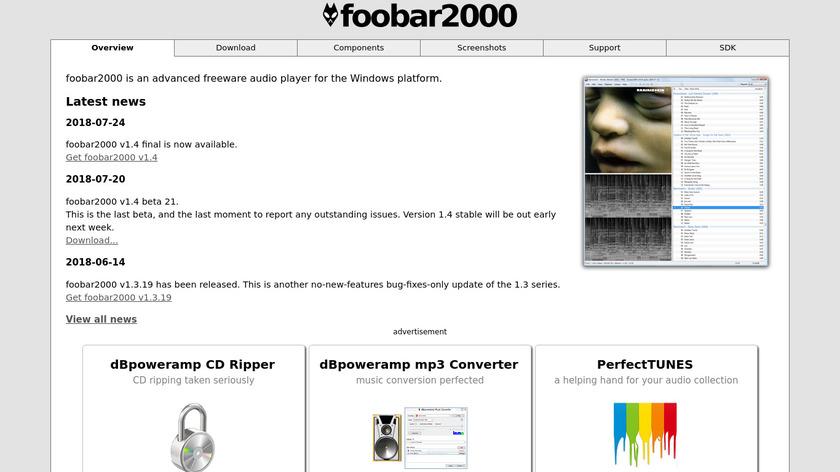 foobar2000 Landing Page
