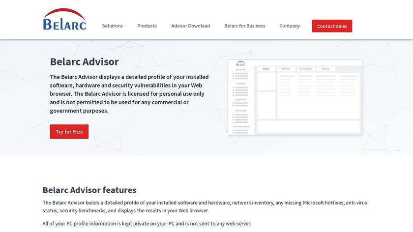 Belarc Advisor Landing Page