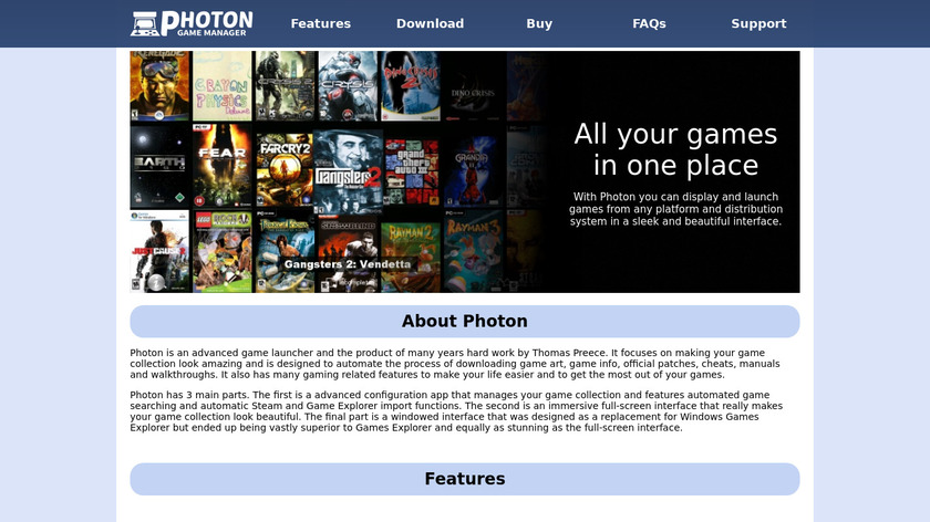 Photon Game Manager Landing Page