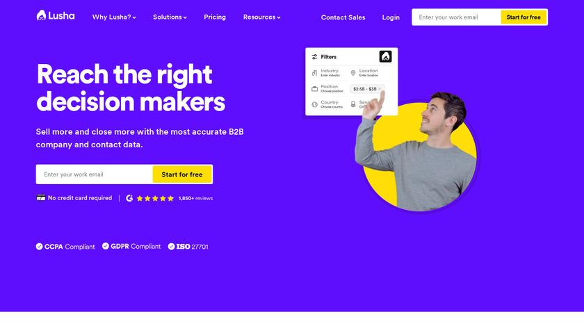 Lusha Landing Page