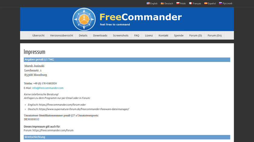 FreeCommander Landing Page