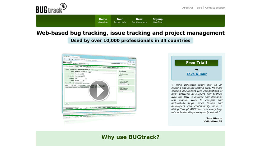 BUGtrack Landing Page